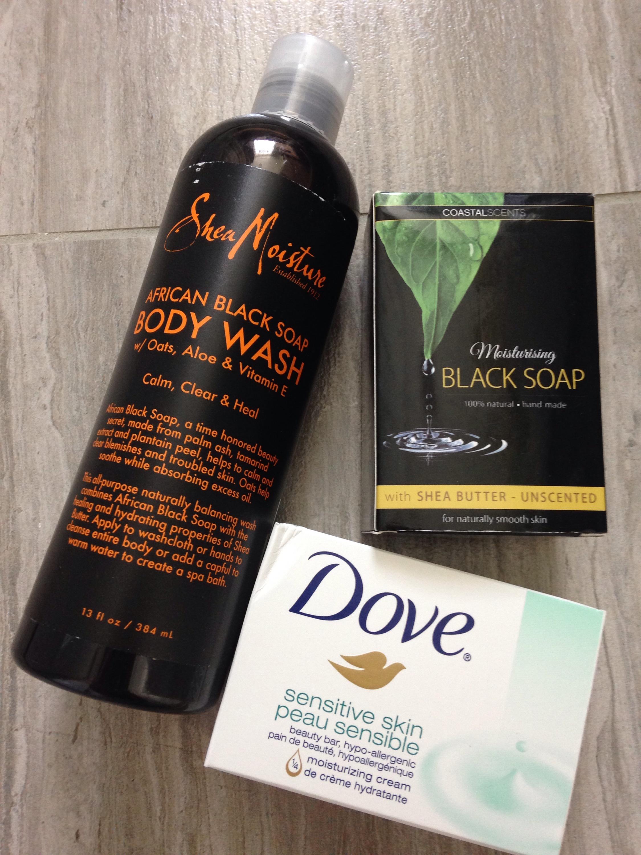 black soap, dove sensitive bar soap, body wash