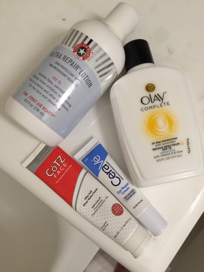 olay, first aid beauty, cerave, cotz